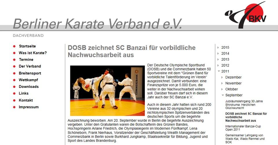 DOSB zeichnet SC Banzai für vorbildliche Nachwuchsarbeit aus
